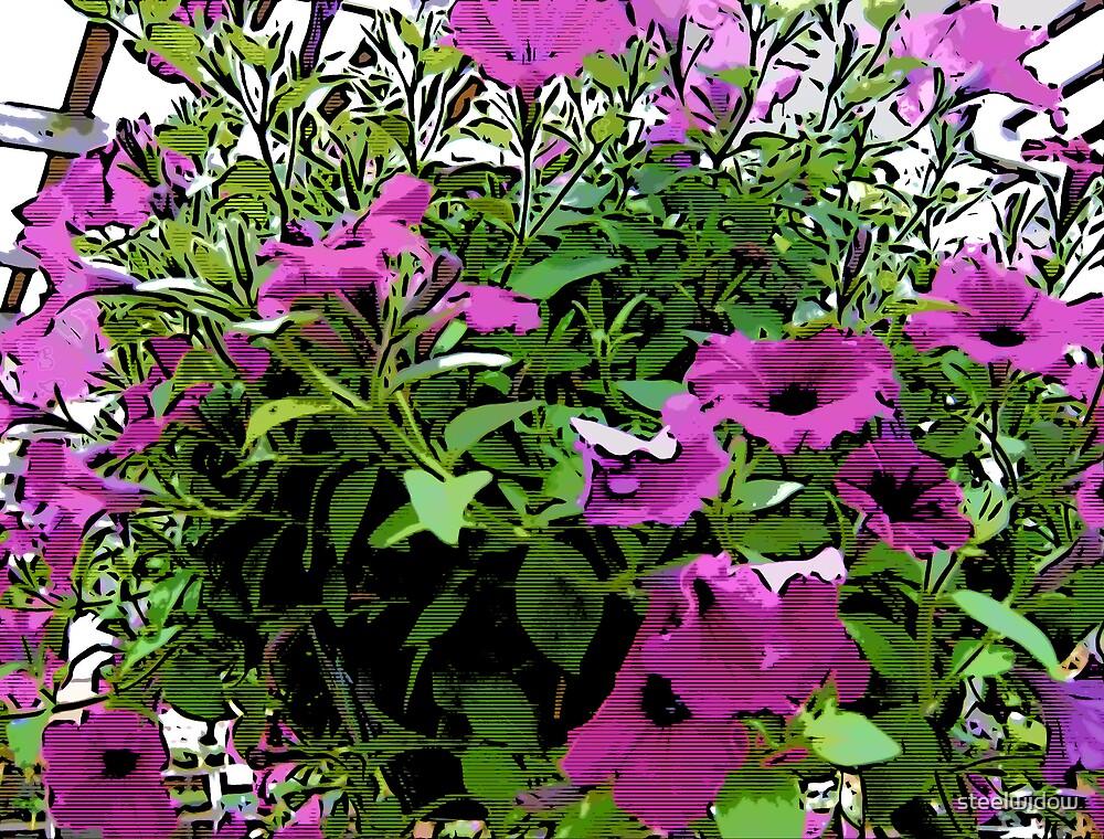 Comic Abstract Purple Hanging Flowers by steelwidow