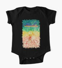 Rainbow typograph with Cracked out Glass abstract background One Piece - Short Sleeve