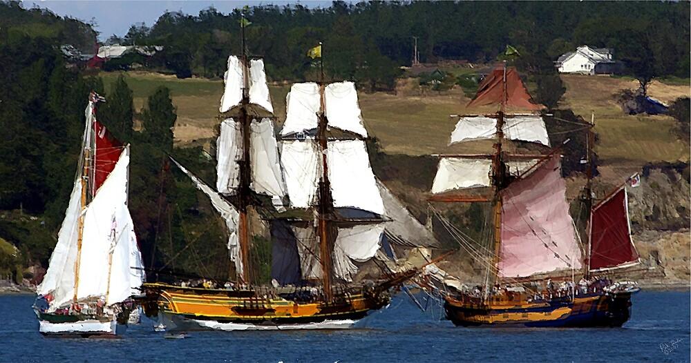 Penn Cove Sailing Ships by Rick Lawler