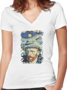 Van Gogh With Starry Night Women's Fitted V-Neck T-Shirt