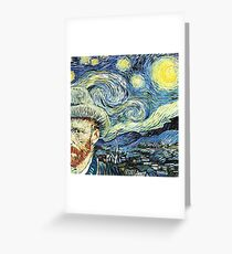 Van Gogh With Starry Night Greeting Card