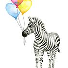 Zebra Watercolor Baby Animal with Balloons for Nursery by Olga Shvartsur