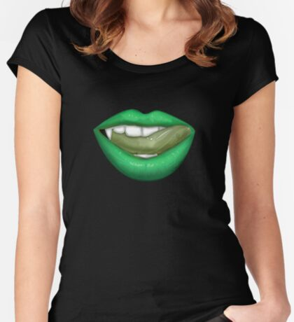 VAMPIRE LIPS - GREEN Women's Fitted Scoop T-Shirt