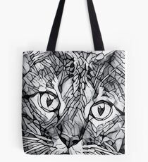 Cute Mosaic Bengal Cat Line-art Drawing Tote Bag