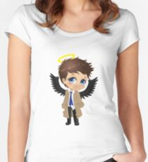 Supernatural Castiel Chibi Women's Fitted Scoop T-Shirt