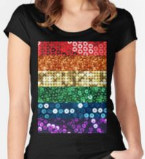 sequin pride flag Women's Fitted Scoop T-Shirt