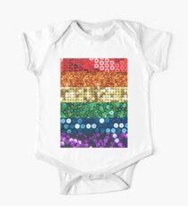 sequin pride flag Short Sleeve Baby One-Piece