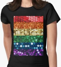 sequin pride flag Women's Fitted T-Shirt