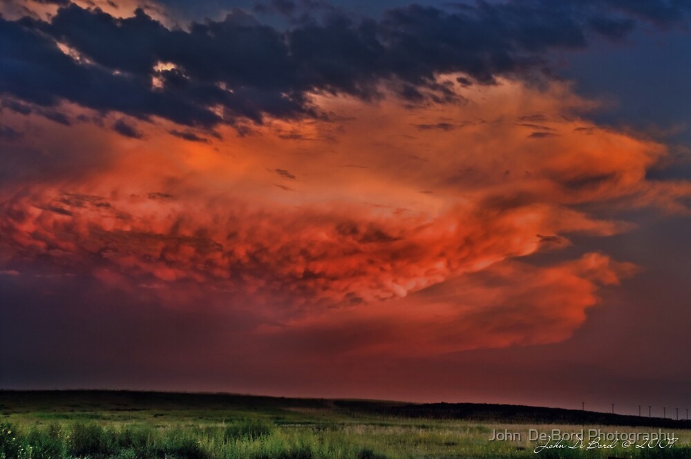 Sunset Thunderstorms Upon the Plains by John  De Bord Photography