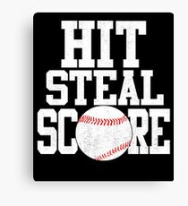Hit Steal Score Baseball Player T Shirt Canvas Print