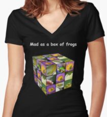 Mad as a box of frogs - darks Women's Fitted V-Neck T-Shirt