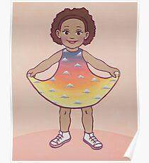 Girl in Sunset Dress Poster