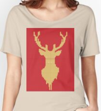 Knitted yellow Deer  Women's Relaxed Fit T-Shirt