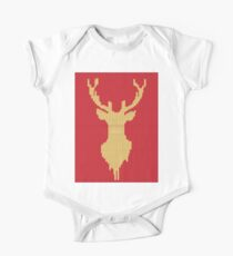 Knitted yellow Deer  One Piece - Short Sleeve