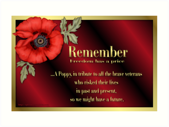 Remember Veterans Poppy Art Prints By Spicetree Redbubble