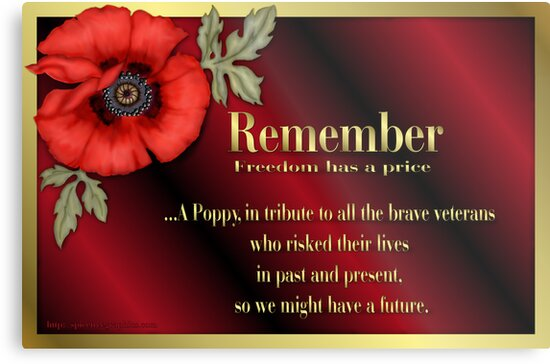 Remember Veterans Poppy Metal Prints By Spicetree Redbubble