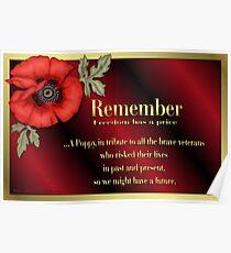 Remember Veterans Poppy Poster