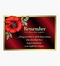 Remember Veterans Poppy Photographic Print