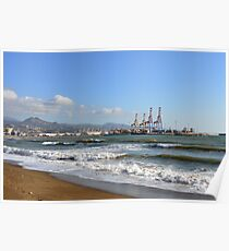 The sea in Malaga, Spain and view of the port Poster