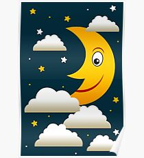 night sky moon stars sleep tight Poster