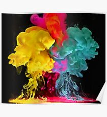 Multicolored ink in water Poster