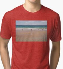 Waiting for the Tide - Layers Textures and Seagulls on Tavira Island Beach Tri-blend T-Shirt