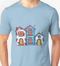 Watercolor houses Slim Fit T-Shirt