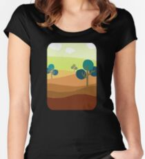 Minimalist Tshirt Landscape Retro Women's Fitted Scoop T-Shirt