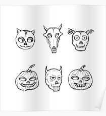 Halloween style - spooky skulls and pumpkins black and white Poster