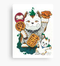 Tattooed Lucky Cat Canvas Print