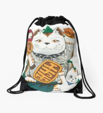 Tattooed Lucky Cat Drawstring Bag