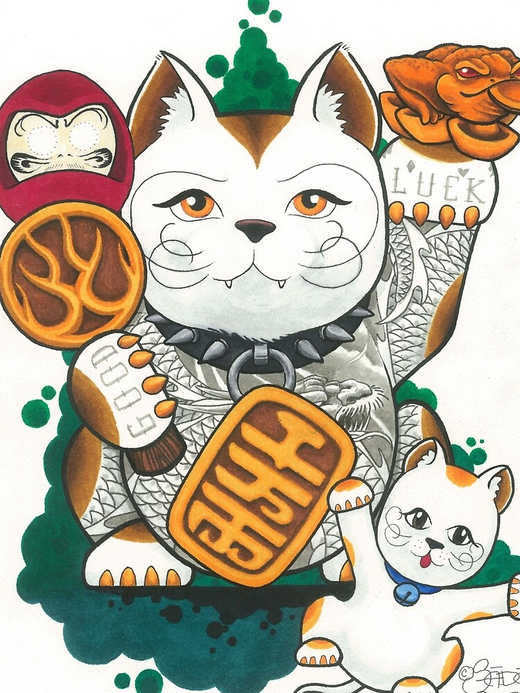 Tattooed Lucky Cat by SadoStyle