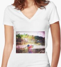 ON THE RIVER Women's Fitted V-Neck T-Shirt