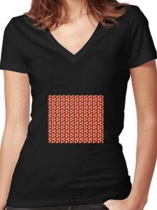 black background red orange white cubes pattern Women's Fitted V-Neck T-Shirt