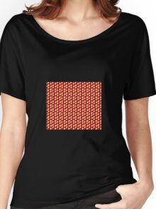 black background red orange white cubes pattern Women's Relaxed Fit T-Shirt