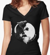 Yin and Yang Cats Women's Fitted V-Neck T-Shirt