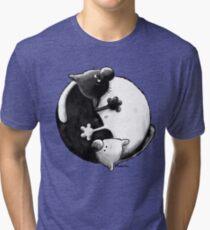 Yin and Yang Cats Tri-blend T-Shirt