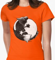 Yin and Yang Cats Womens Fitted T-Shirt