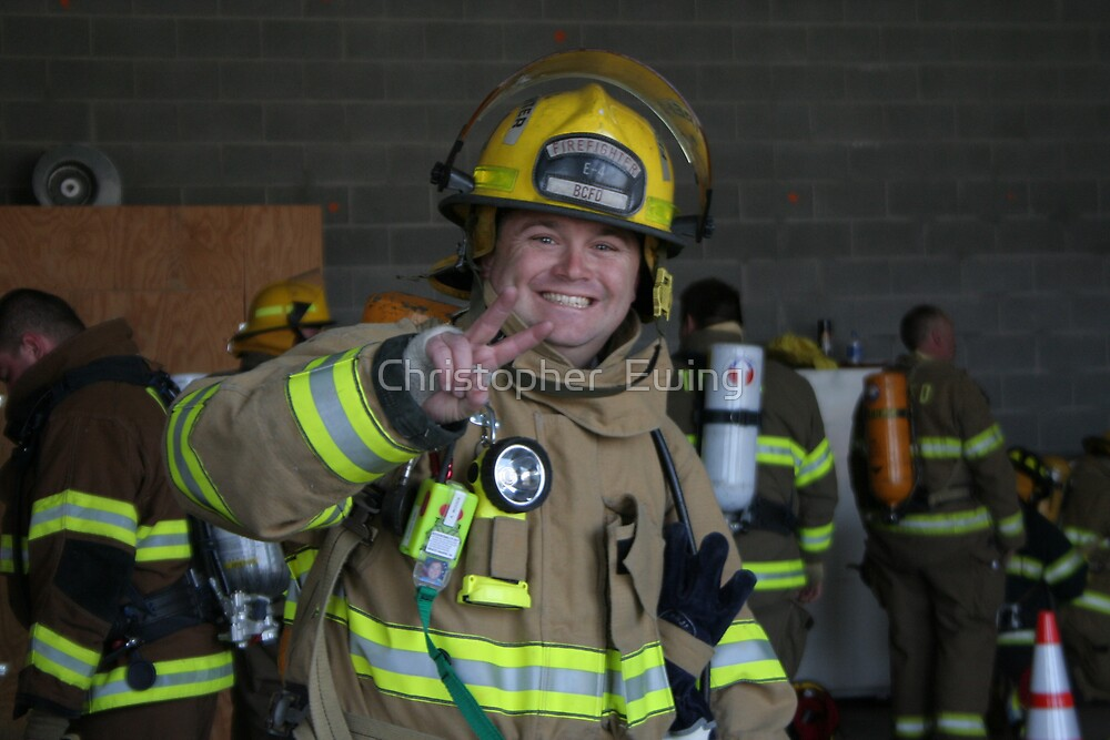 happy firefighter by Christopher  Ewing