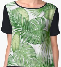 Watercolor Exotic Leaves Pattern Chiffon Top