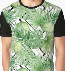 Watercolor Exotic Leaves Pattern Graphic T-Shirt