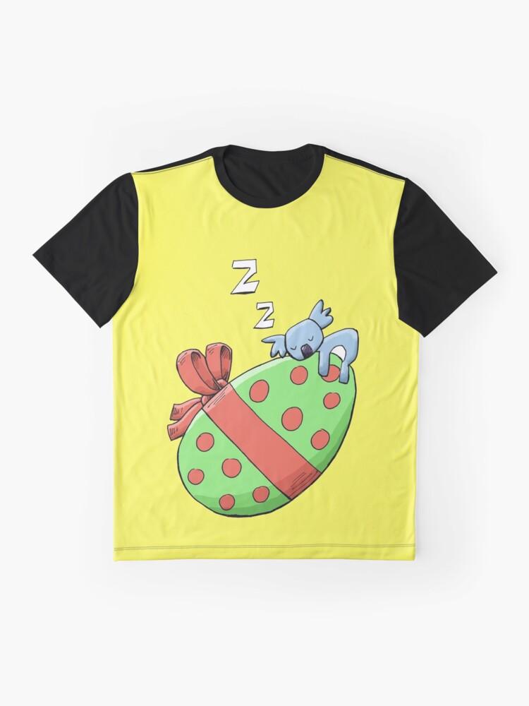 Alternate view of Cute Sleeping Koala on an Easter Egg Graphic T-Shirt