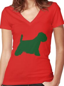 Westie Green | Dogs silhouette Women's Fitted V-Neck T-Shirt