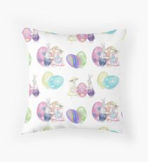 Watercolor Easter Bunnies Pattern Throw Pillow