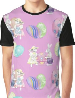 Watercolor Easter Bunnies Pattern Graphic T-Shirt