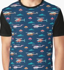 Seamless pattern with helicopter, parachute, clouds on deep blue background Graphic T-Shirt