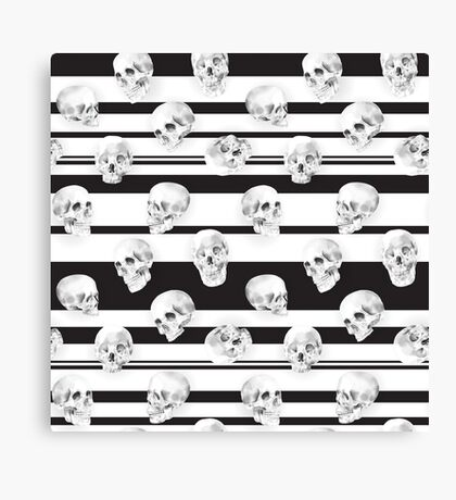 Watercolor Skull Pattern Canvas Print