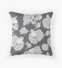Watercolor Skull With Flowers Pattern Throw Pillow