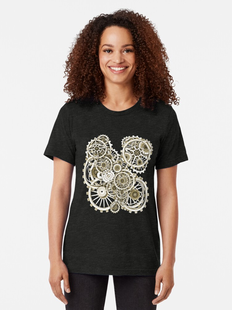 Alternate view of Steampunk Gears on your Gear No.2 Vintage Style Steampunk T-Shirts Tri-blend T-Shirt