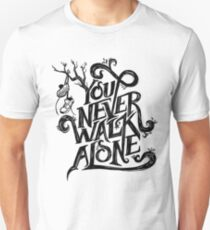 You Never Walk Alone - BTS - Black Text (on Blue) T-Shirt